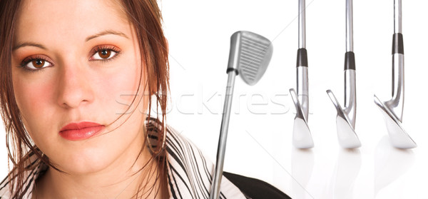 Businesswoman with brown hair and golf equipment Stock photo © Forgiss