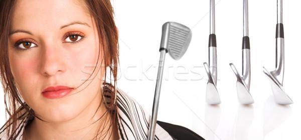 Empresária cabelo castanho golfe equipamento branco camisas Foto stock © Forgiss
