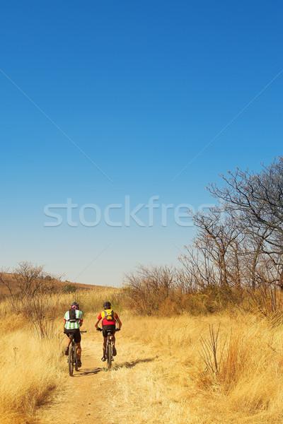 Pár hegy motorosok copy space fű út Stock fotó © Forgiss