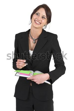 Stok fotoğraf: Karanlık · iş · kadını · kadın · ofis · çalışmak · kalem