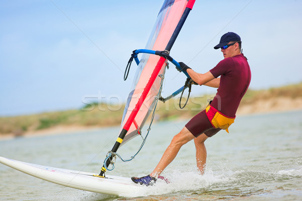 Snel bewegende water South Africa verkeer man Stockfoto © Forgiss