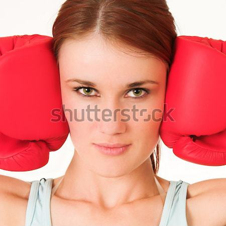 Ginásio mulher roupa luvas de boxe menina esportes Foto stock © Forgiss