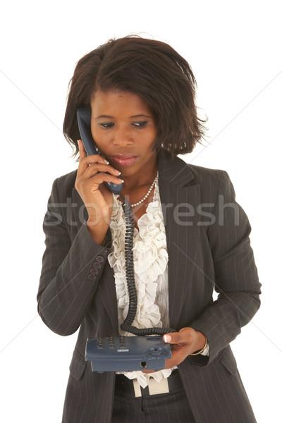 Stockfoto: Mooie · afrikaanse · zakenvrouw · portret · jonge · praten