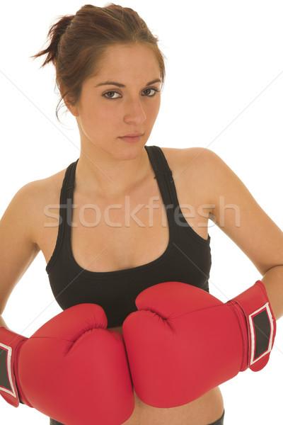 Boxoló barna hajú piros boxkesztyűk nő munka Stock fotó © Forgiss
