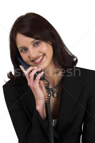 Business woman formalny czarny garnitur telefonu uśmiechnięty Zdjęcia stock © Forgiss