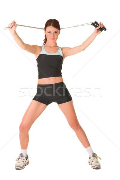 Spor salonu kadın aşınma halat arkasında Stok fotoğraf © Forgiss