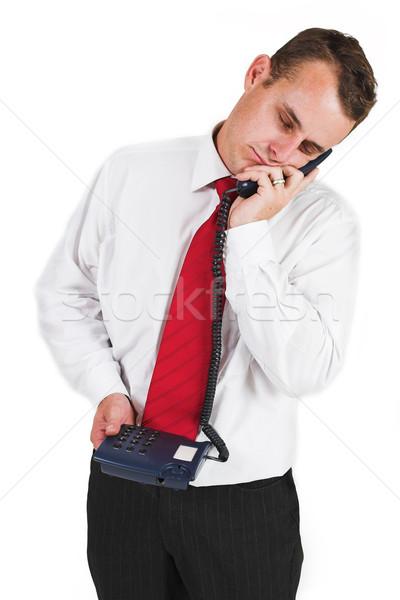 Iş adamı takım elbise mavi telefon adam profesyonel Stok fotoğraf © Forgiss