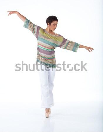 Tik danser schoenen stappen witte Stockfoto © forgiss