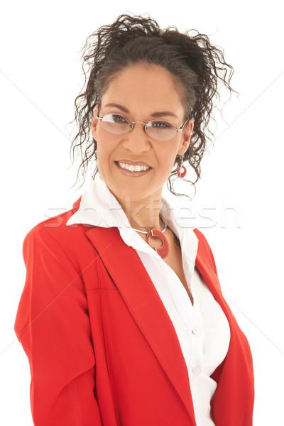 Mooie kaukasisch zakenvrouw portret jonge krulhaar Stockfoto © Forgiss