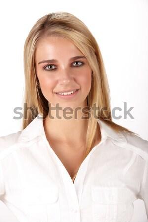 Bella donna bionda donna lungo Foto d'archivio © Forgiss