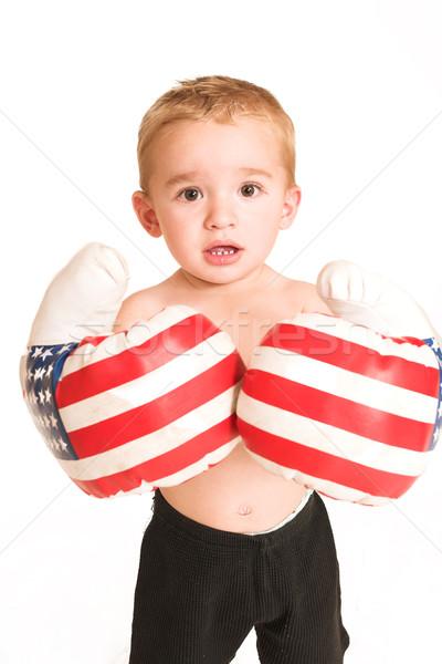 Em pé grande luvas de boxe esportes caixa contato Foto stock © Forgiss