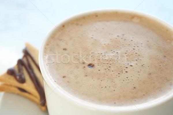 Cafe tazza di caffè fresche schiumoso bianco argento Foto d'archivio © Forgiss