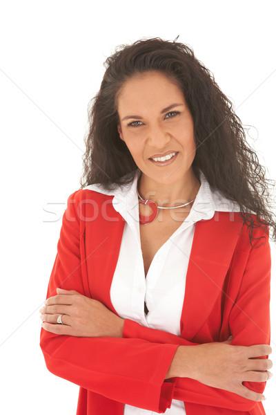 Mooie kaukasisch zakenvrouw portret jonge lang Stockfoto © Forgiss