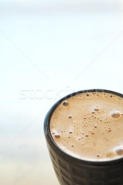 Cafe koffiemok vers schuimend zwarte koffie mok Stockfoto © Forgiss