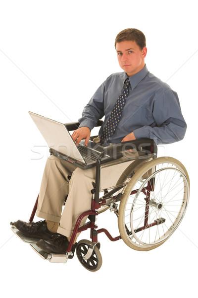 Zakenman vergadering rolstoel werken laptop business Stockfoto © Forgiss