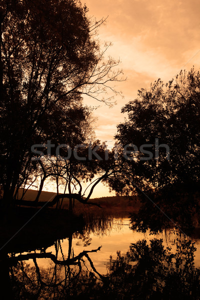 Tranquil scene of a small rural pond at sunset with an orange sky and autumn foliage reflecting in t Stock photo © Forgiss