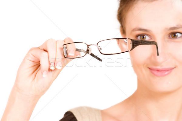 Działalności pani business woman okulary płytki Zdjęcia stock © Forgiss