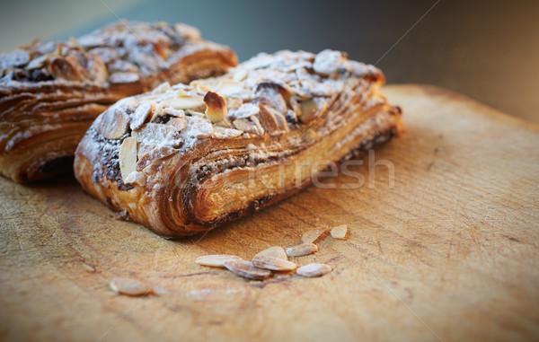 Badem çikolata kruvasan taze pasta glasaj şekeri Stok fotoğraf © Forgiss