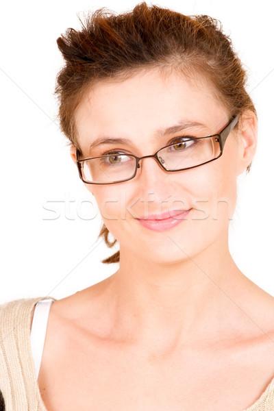 Działalności pani business woman okulary dziewczyna uśmiech Zdjęcia stock © Forgiss