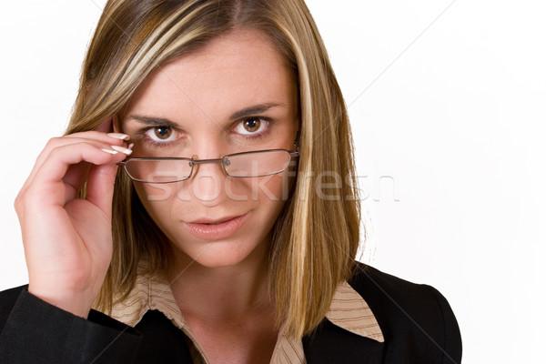 Szczęście business woman okulary do czytania pracy ciemne Zdjęcia stock © Forgiss
