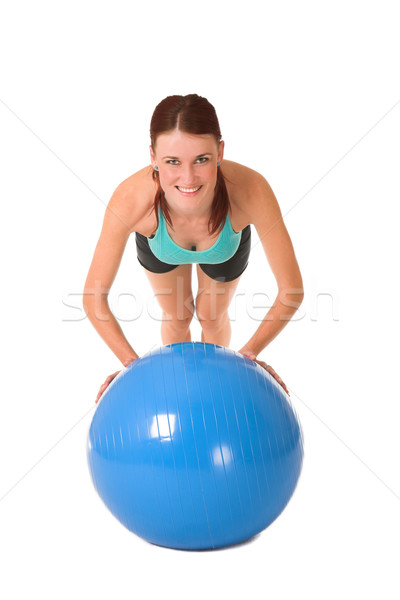 Spor salonu kadın top spor Stok fotoğraf © Forgiss