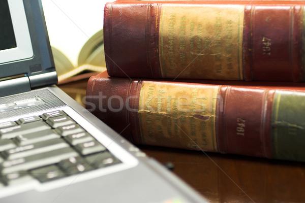Yasal kitaplar dizüstü bilgisayar tablo güney afrika hukuk Stok fotoğraf © Forgiss