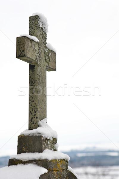 Mezar taşı kapalı kar bo soğuk Stok fotoğraf © Forgiss