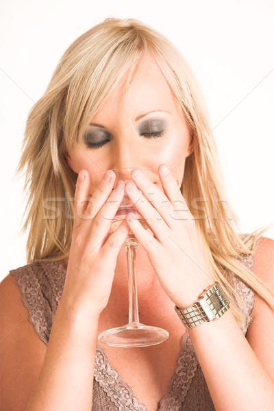 деловой женщины бежевый Top питьевой из Сток-фото © Forgiss
