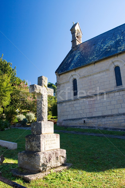 Velho pedra grave forma atravessar igreja Foto stock © Forgiss