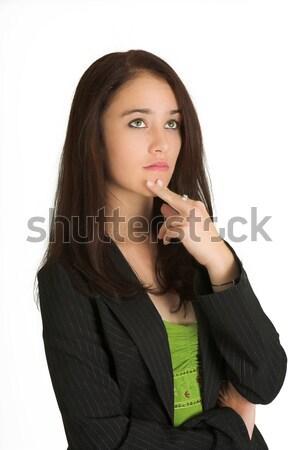 Zakenvrouw portret brunette denken hand werk Stockfoto © Forgiss