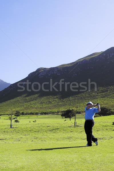 Foto d'archivio: Golf · uomo · giocare · relax · cielo · blu · vacanze