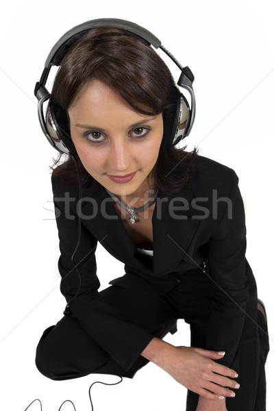 16 business woman formalny czarny garnitur słuchawki głowie Zdjęcia stock © Forgiss