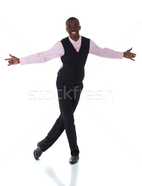 Zwarte afrikaanse zakenman donkere Stockfoto © Forgiss