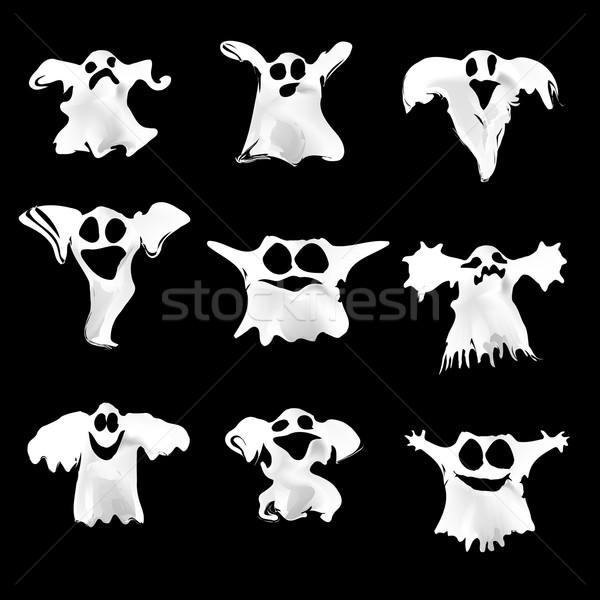 Conjunto halloween branco fantasmas diferente expressões Foto stock © Fosin
