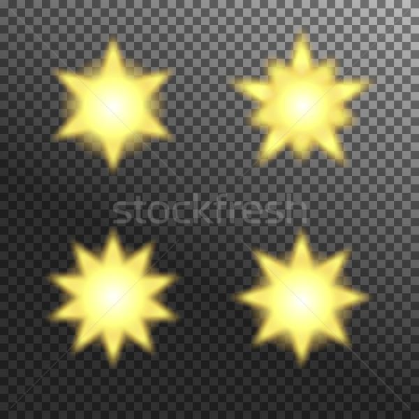 Vector set of glowing light bursts on grey white Stock photo © Fosin