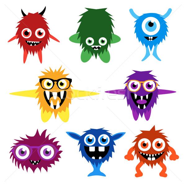 Vector set of cartoon cute monsters and aliens. Stock photo © Fosin