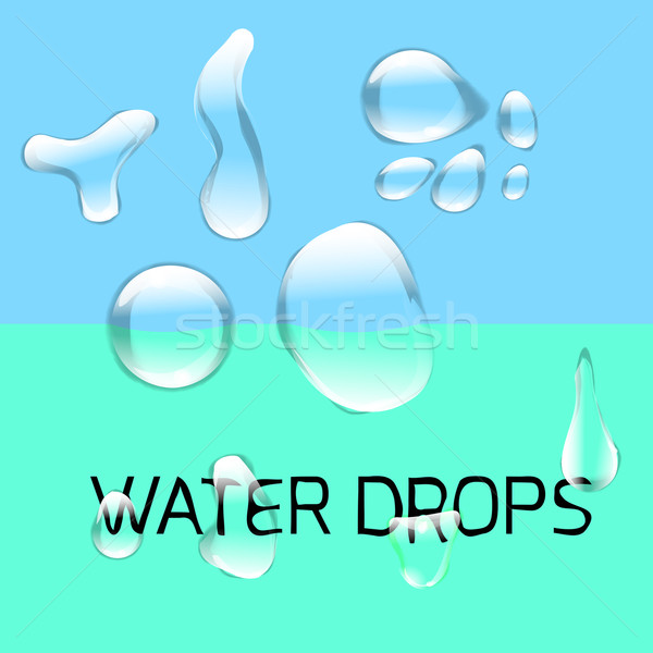 Transparent water drop set on light gray background Stock photo © Fosin