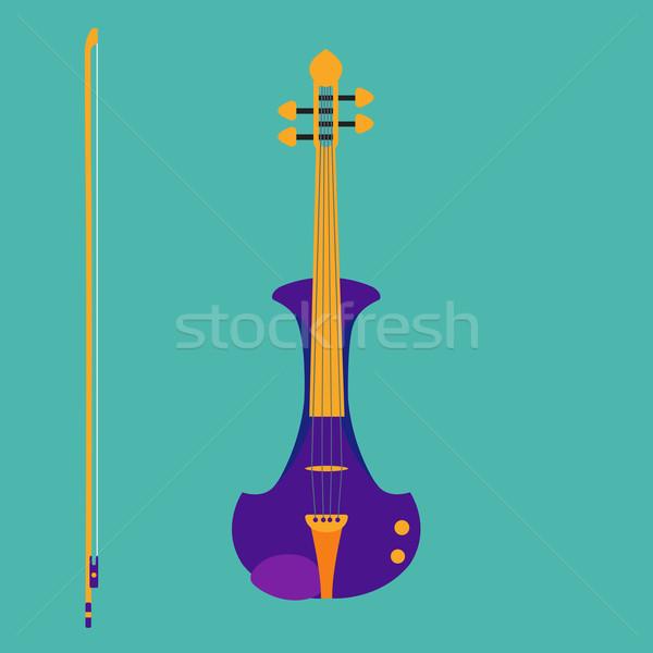 電気 バイオリン 弓 孤立した 楽器 スタイル ストックフォト © Fosin