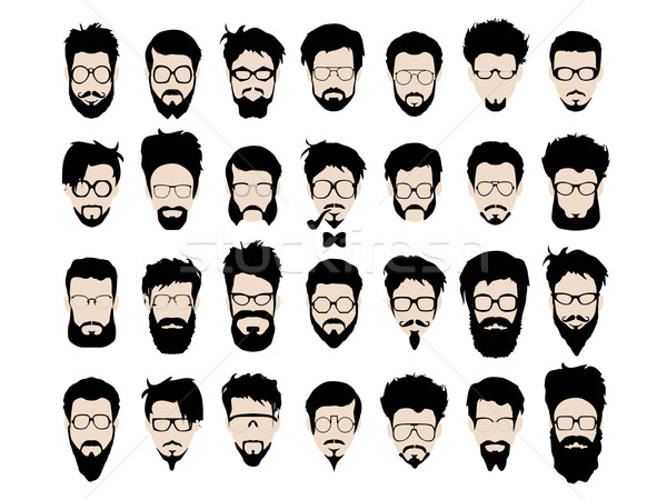 Vector set of hipster style haircut, glasses, beard, mustache Stock photo © Fosin
