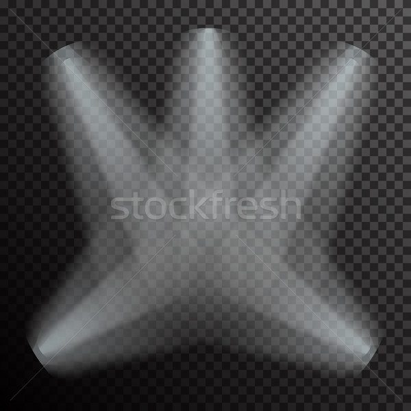 Realistic white gray glowing spotlights on transparent laid background Stock photo © Fosin
