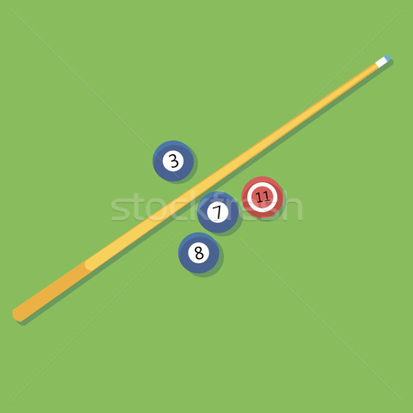 Vector illustration of billiards. Pill. cue and balls. Stock photo © Fosin