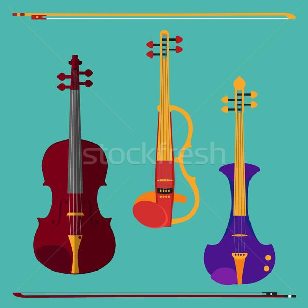 Violino conjunto diferente clássico elétrico arcos Foto stock © Fosin