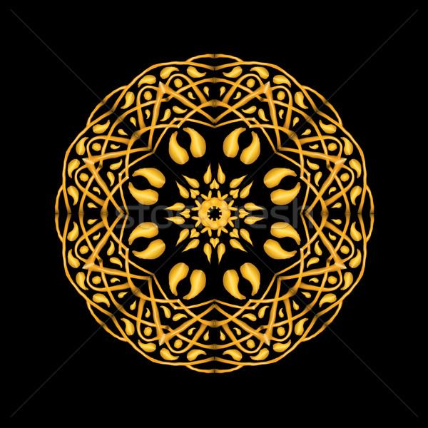 Arany mandala kisebbségi absztrakt dekoratív elemek Stock fotó © Fosin