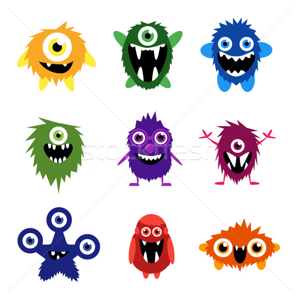 Stock photo: Vector set of cartoon cute monsters and aliens.