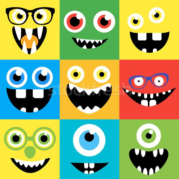 Desenho animado monstro faces vetor conjunto bonitinho Foto stock © Fosin