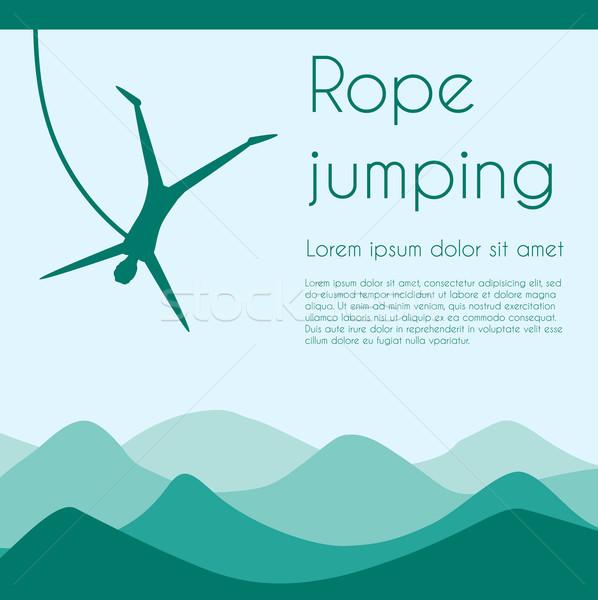 ロープ ジャンプ 極端な スポーツ シルエット 人 ストックフォト © Fosin
