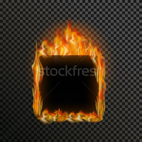 Zestaw realistyczny przezroczysty ognia płomienie Zdjęcia stock © Fosin