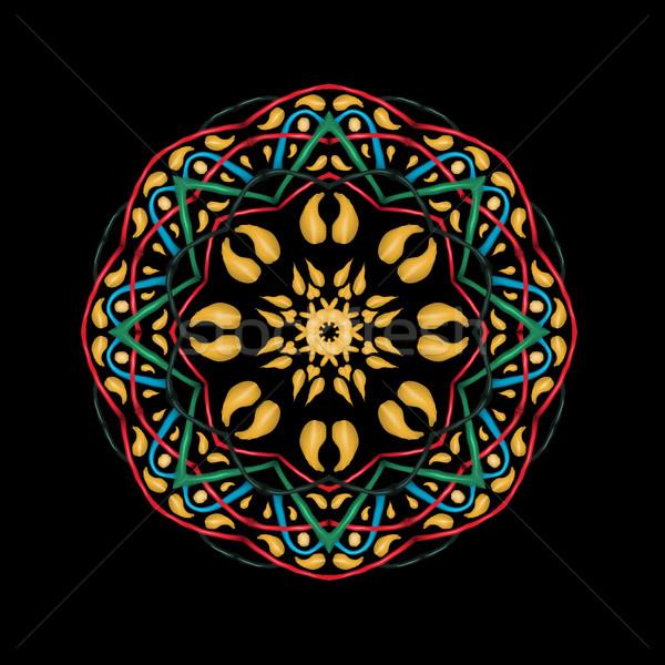 Dourado mandala étnico abstrato decorativo elementos Foto stock © Fosin