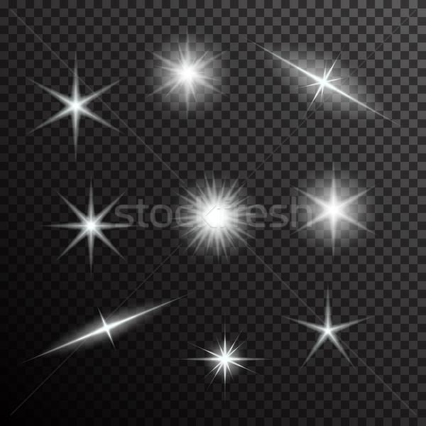 Vektör ayarlamak ışık siyah eğim Stok fotoğraf © Fosin