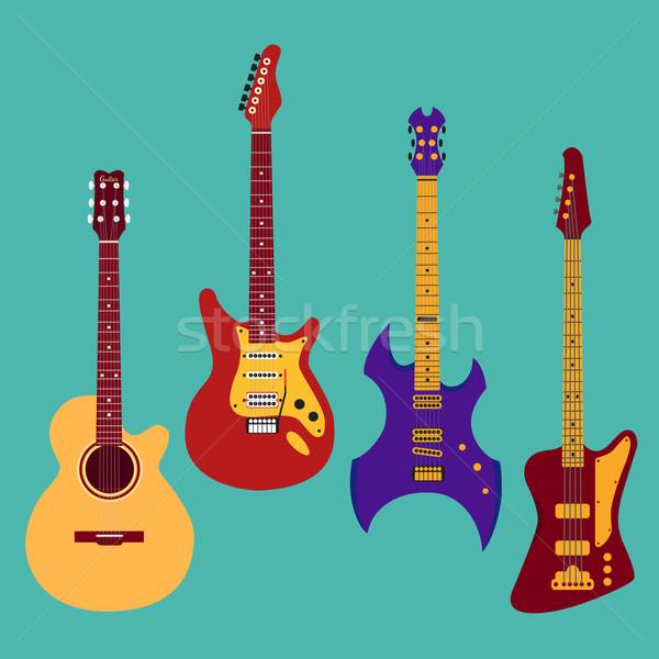 Conjunto diferente guitarra guitarra elétrica heavy metal baixo Foto stock © Fosin